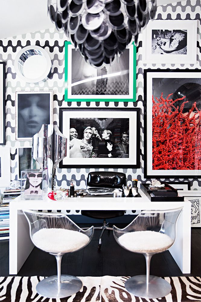 I Love The Graphic Black And White Wallpaper With The Zebra Rug And All  White Furniture
