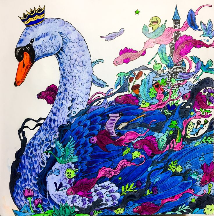 #imagimorphia #Kerby Rosanes # #male swan #adult colouring coloured by Judy Boechler