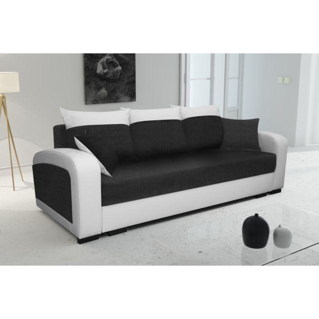 Rocambolesk Canape Lola Blanc Noir Sofa Divan Canape Lit Pas Cher Canape Lit 2 Places Et Petit Canape