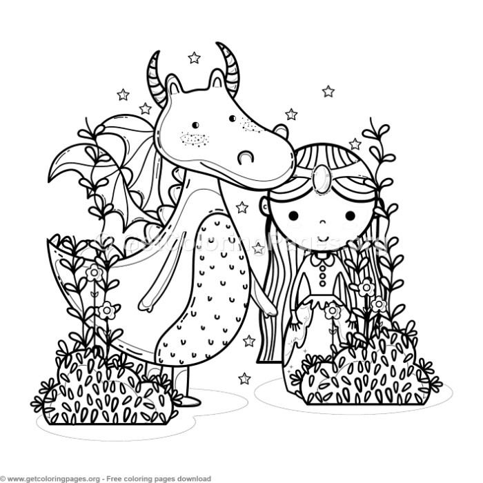 Magic World Cute Princess And Dragon Coloring Pages Free Instant Rhpinterest: Coloring Pages Dragon Princess At Baymontmadison.com