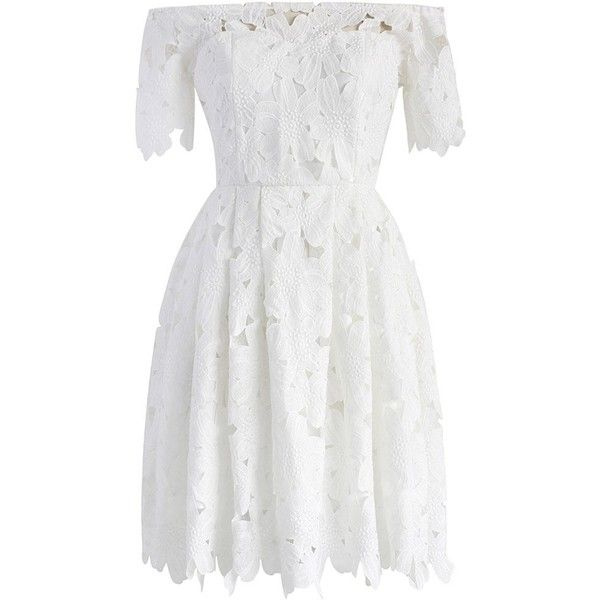 Chicwish Full Flower Cut Off-shoulder White Dress (78 AUD) ❤ liked on Polyvore featuring dresses, white, off-shoulder lace dresses, white off-shoulder dresses, off-shoulder dresses, white dresses and off the shoulder lace dress