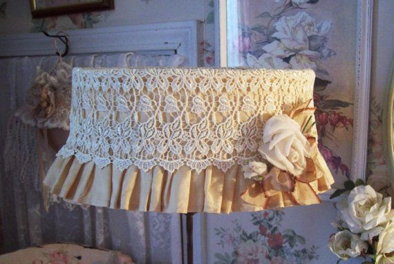 vintage redone lamp shade lace lamp shade by TheHumbleCottage, $82.00