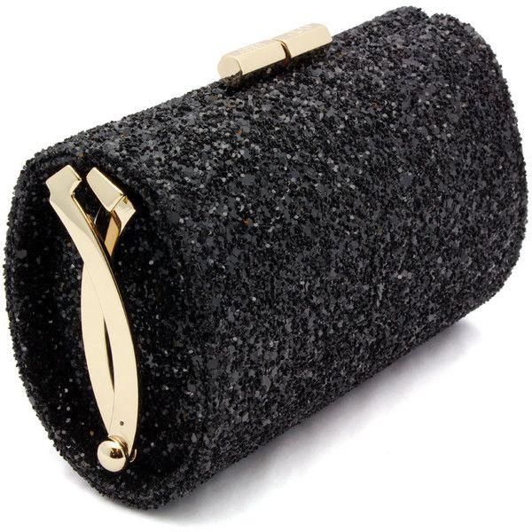 """Jimmy Choo """"Mini Tube""""Black Glitter Clutch ... shirise: Glitter Clutches, Tubeblack Glitter, Minis Tube Black, Handbagseven Clutches, Jimmy Choo, Minis Tubeblack, Tube Black Glitter, Clutches Bags, Choo Minis"""