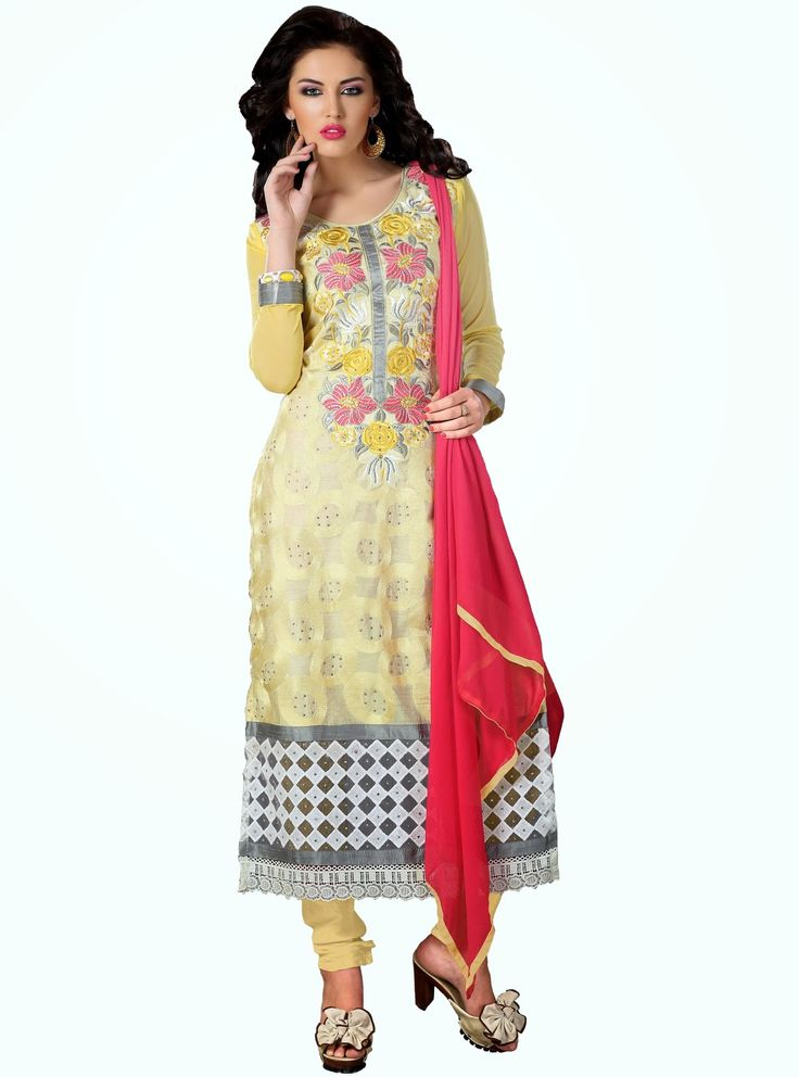 Party Wear Light Yellow and Carrot Pink  Heavily Embroidered Chanderi Cotton Suit. Comes along with Santoon Bottom and Viscose Dupatta.