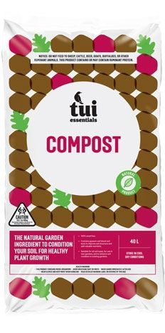 Tui Compost adds nutrient-rich organic matter to replenish your soil with nutrients used during the growing season. The combination of organic matter, blood and bone and gypsum will: help break up heavyor clay soil; improve drainage in compacted soil; and increase water holding capacity in sandy soil. It also increases microbial activity, and encourages earthworms #tuiproducts