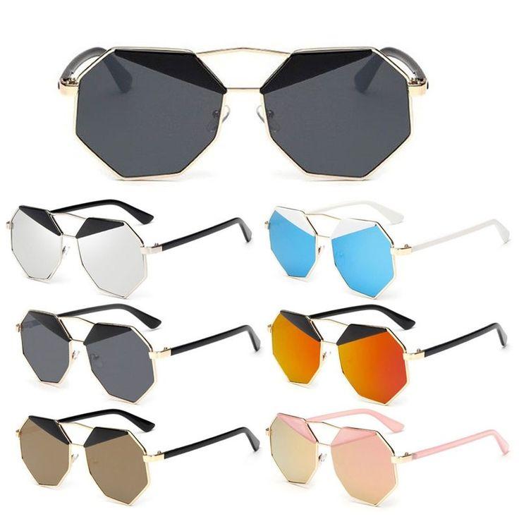 Солнцезащитные очки-восьмиугольник с пластиковыми бровями и зеркальной линзой (в наличии коричневая линза черные брови) - 17902