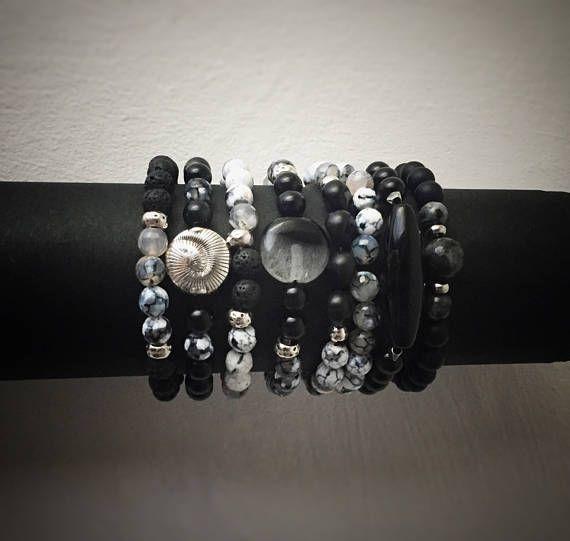 Bracciali elastici unisex Boho bianchi e neri con pietre miste