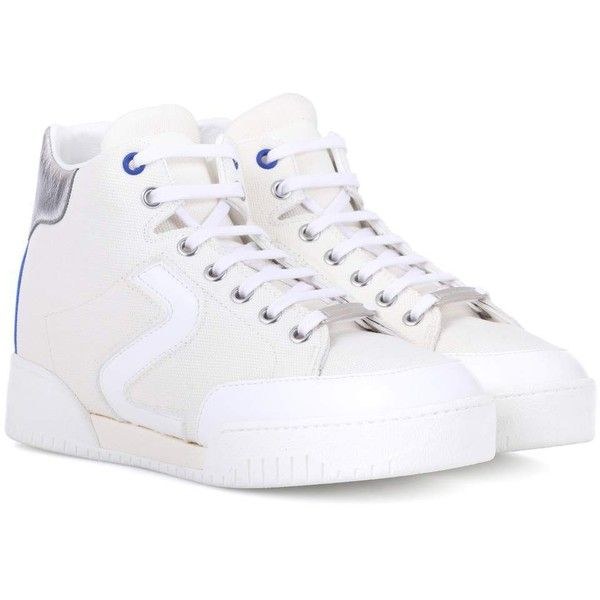 Stella McCartney Stella High-Top Sneakers ($550) ❤ liked on Polyvore featuring shoes, sneakers, white, white hi tops, white high top trainers, white high tops, high top trainers and white high top shoes