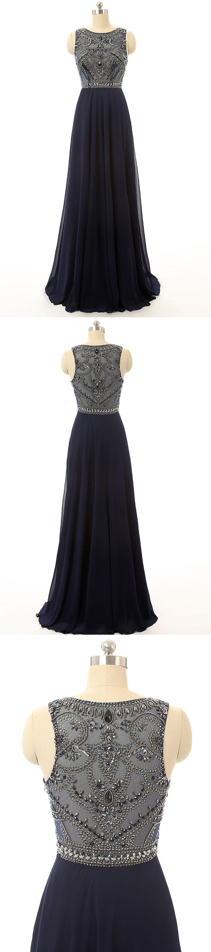 Long Prom Dresses,Cheap Prom Dress Navy Blue Beaded Long Graduation Dresses ED0849