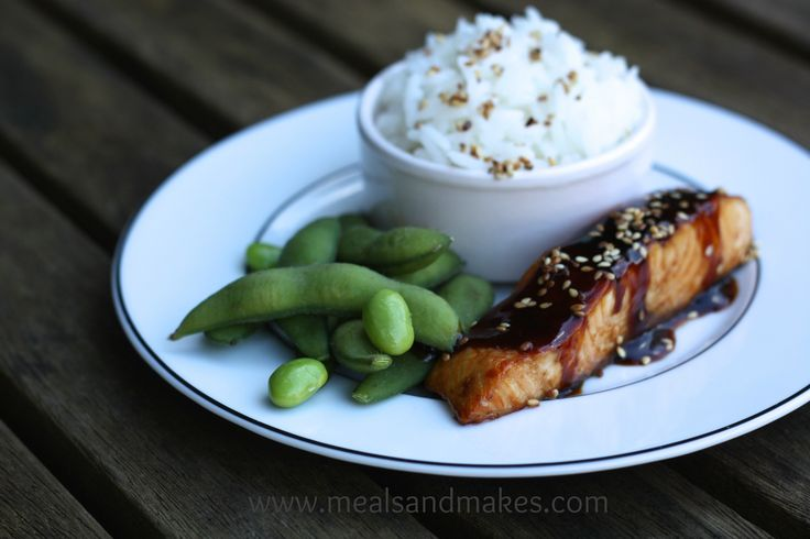 Japanese style teriyaki salmon.  A meal for all of the family. This is a lovely salty/sweet sauce that my children love.