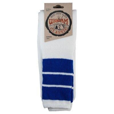 Wigwam Classic King Tube Men's Knee High Three Stripe Sock (White/Royal)