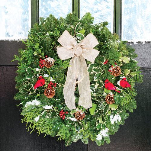 Cardinal Noble Fir Evergreen Wreath:  Fresh-cut Pacific Northwest Noble Fir and Oregon blue-berried Juniper are combined to create a festive wreath with a wonderful woodsy fragrance. It offers the best of the winter woods, remaining fresh for months. -- This product is no longer available, however click the image to see this year's Everlasting Wreaths!