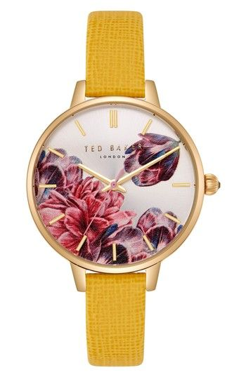 Free shipping and returns on Ted Baker London Kate Leather Strap Watch, 36mm at Nordstrom.com. Rich florals flourish on the dial of an elegant round watch designed with a thin bezel and a lightly textured leather strap.