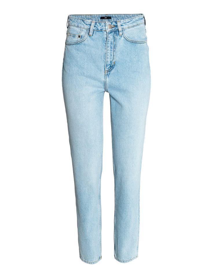 Katso! 5-taskufarkut pestyä denimiä. Suora malli. Korkea vyötärö ja napillinen vetoketjusepalus.  – Käy hm.comissa katsomassa lisää.