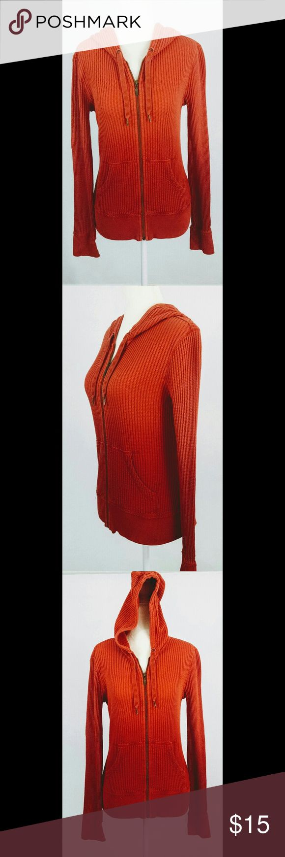 """Eddie Bauer Women's Zip Up Hooded Jacket M Eddie Bauer Women's Zip Up Hooded Thermal Waffle Weave Jacket with drawstring.  Pre Owned with no rips, tears or stains.  Jacket has front pockets.  Hombre Orange  100% Cotton  Long Sleeve  Tag Size: M  Bust: 18"""" (from under arm to under arm)  Sleeve Length: 24"""" (from shoulder seam to cuff)  Length: 21.5"""" (from neck seam to hem)  Approximate Measurements taken with item laying flat. Please ask any questions prior to purchasing.  Thank you…"""