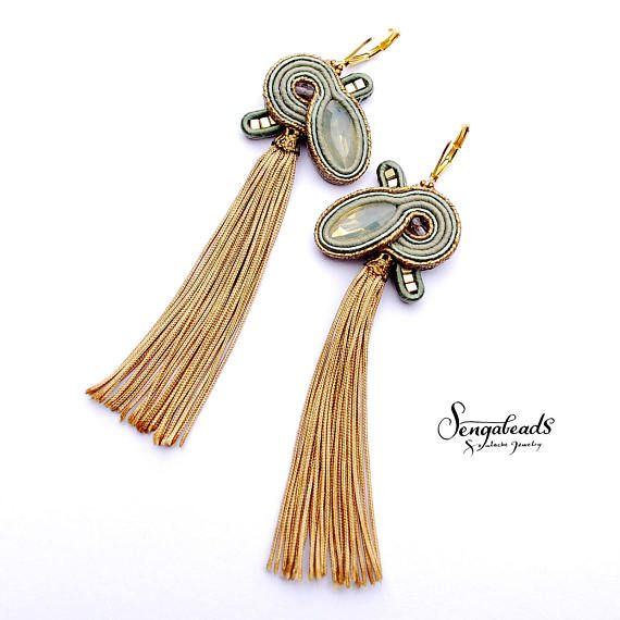 Long tassel earrings in sage gold and golden brown. Soutache