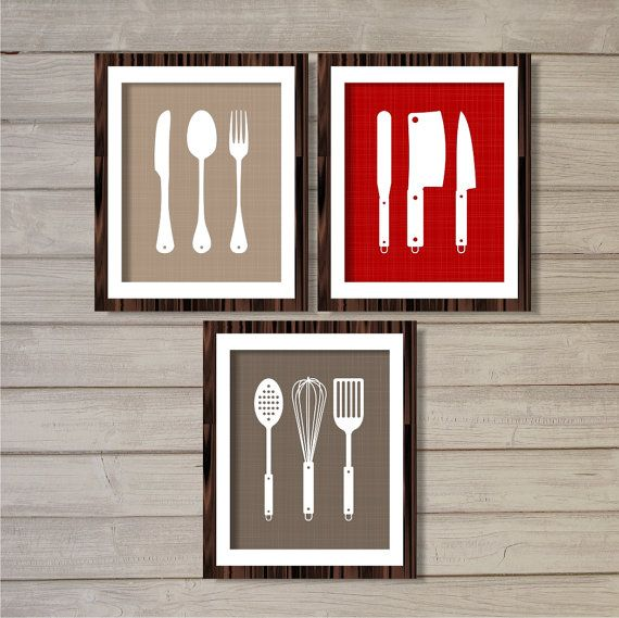Kitchen Cutlery Wall Art Printable - Set of 3 - Red, Grey, Taupe - 8x10 - Instant Download Digital Poster Kitchen Gifts Home Decor on Etsy, $8.85