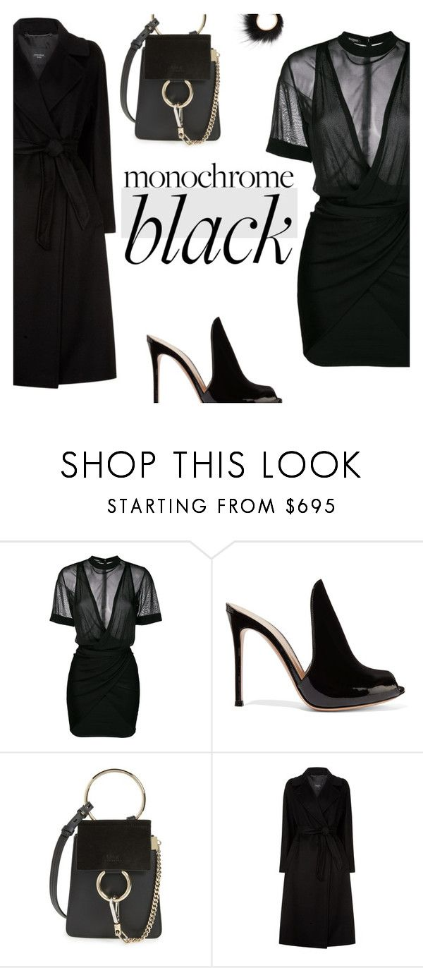 """""""All black #1"""" by paradise-inc ❤ liked on Polyvore featuring Balmain, Gianvito Rossi, Chloé, Weekend Max Mara, Salvatore Ferragamo and allblack"""