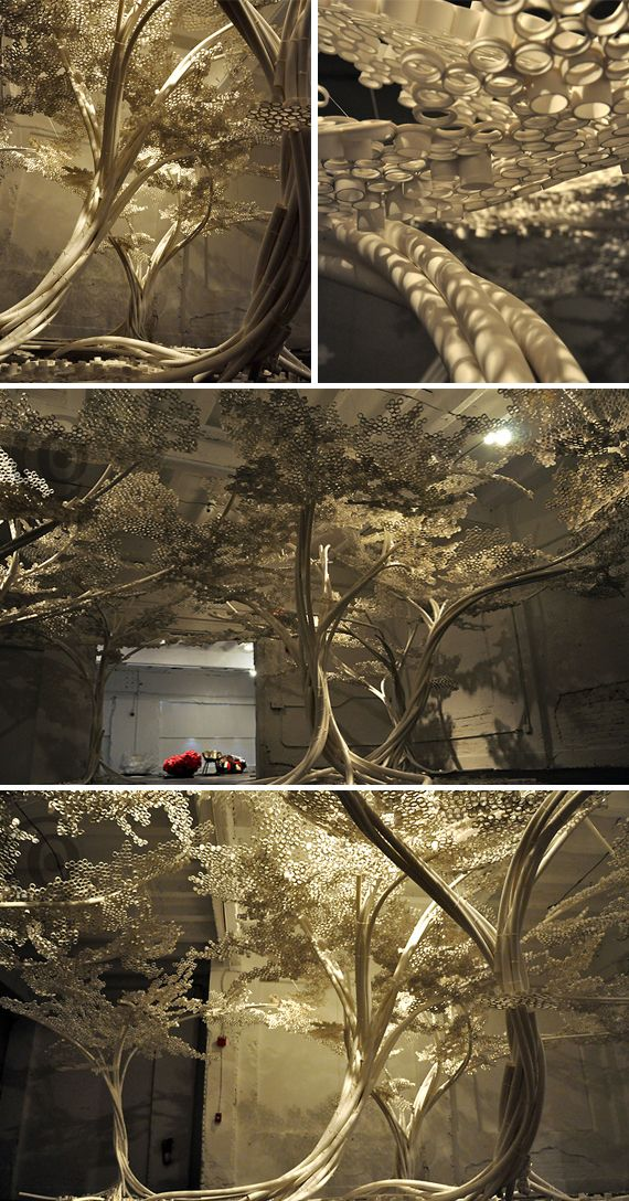 Fake trees made from  polypropylene pipes and nylon cable ties! They look awesome!
