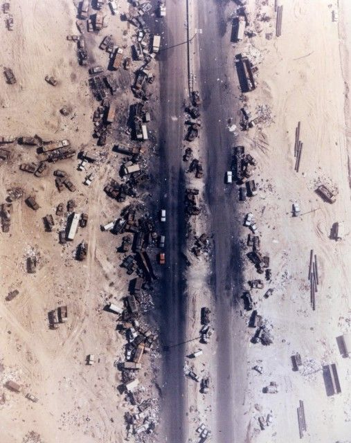 Highway of Death, The result of American forces bombing retreating Iraqi forces, Kuwait, 1991