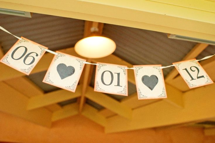 Wedding date bunting. Photographed by Shona Henderson Photography. To see the full story or publish your wedding, visit Wedding Vault.