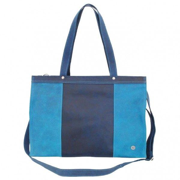 Elegante leather laptopbag in turquoise-dark blue