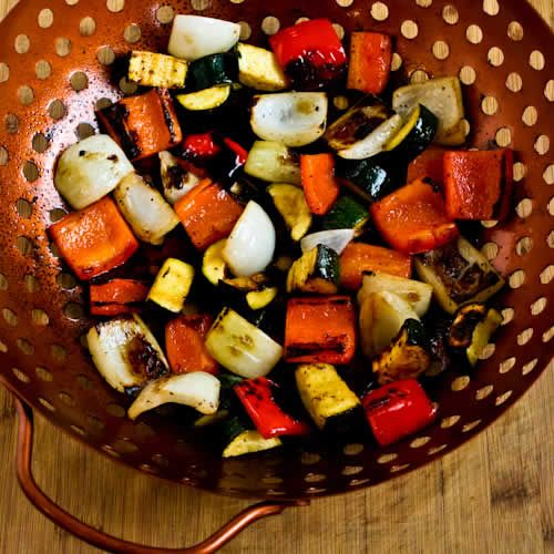 Recipe for World's Easiest Grilled Vegetables (How to Cook Vegetables on the Grill) [from KalynsKitchen.com]