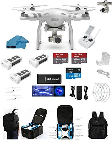 DJI Phantom 3 Advanced Quadcopter Drone with HD Camera EVERYTHING YOU NEED Kit + 2 DJI Extra Batteries + Prop Guards + 2 SanDisk 64GB Micro SD Cards + Reader + Koozam Light Strip + (With Backpack) drone reviews