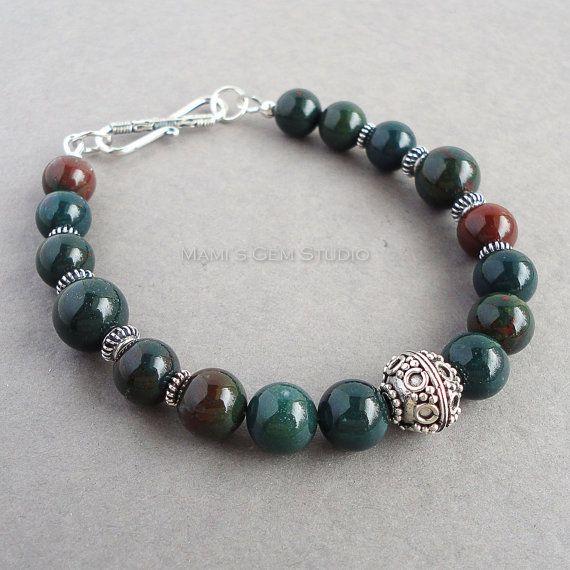 Mens Bloodstone Bracelet with Bali Sterling Silver, Green Gemstone Beaded Jewelry for Men, Guys, Dad, Him, Handmade