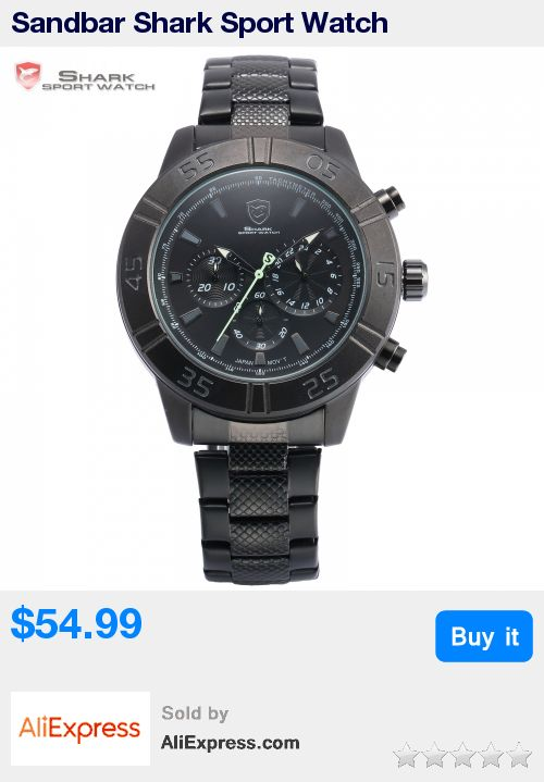 Sandbar Shark Sport Watch Chronograph Black Dial Stainless Steel Clasp Band 3 Dial Quartz Men Outdoor Military Wristwatch /SH302 * Pub Date: 20:27 Aug 14 2017