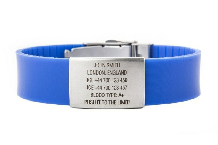 ICEstripe Elite wristband with your data, motto or contact information, engrave on stainless steel tag