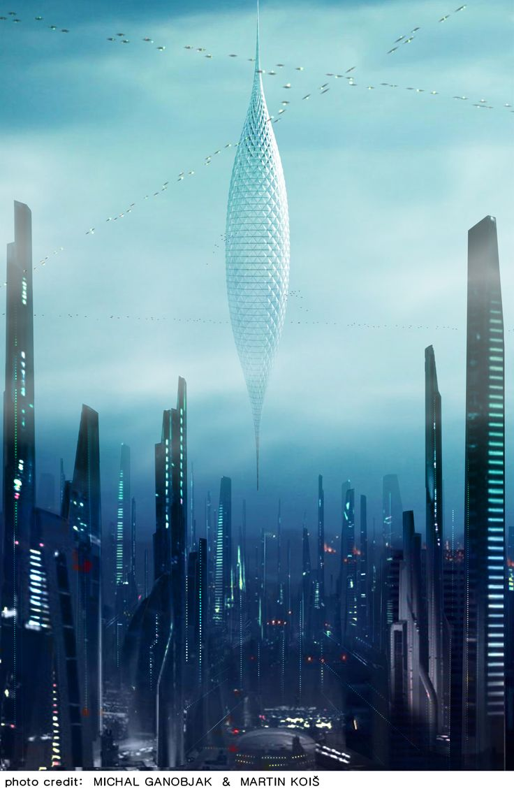 The Plantage Skyhanger – suspended structure from space station, which serves as a structure for vertical farming and supply of fresh crops for the city below.