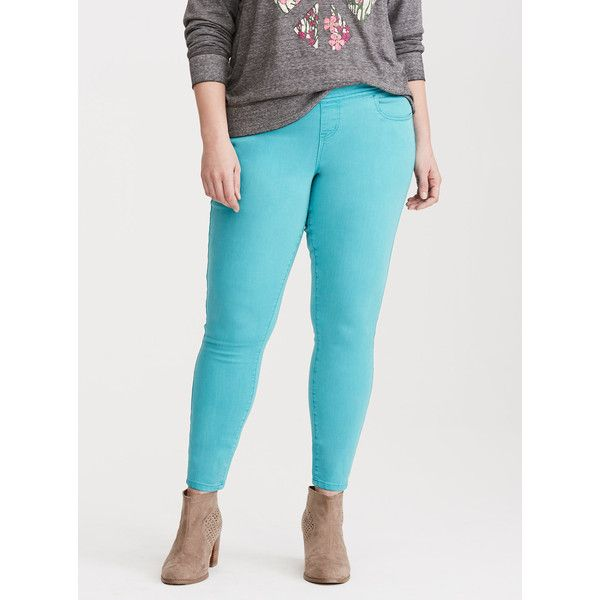 Torrid Higher-Rise Skinny Pull-On Lean Jeans, Short Length ($21) ❤ liked on Polyvore featuring jeans, aqua sea, tall skinny jeans, women's plus size jeans, pull on jeggings, pull on skinny jeans and plus size skinny leg jeans