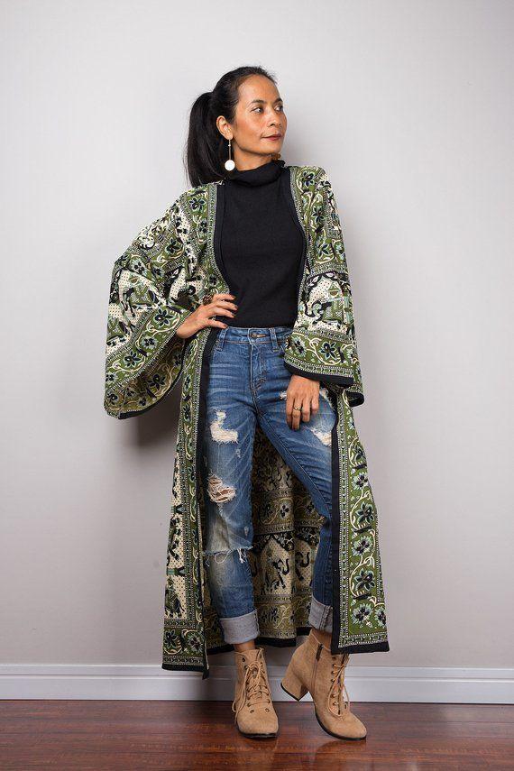 obtenir de nouveaux en ligne à la vente qualité-supérieure Boho Kimono cotton duster vest, Long wide Sleeved Cardigan ...