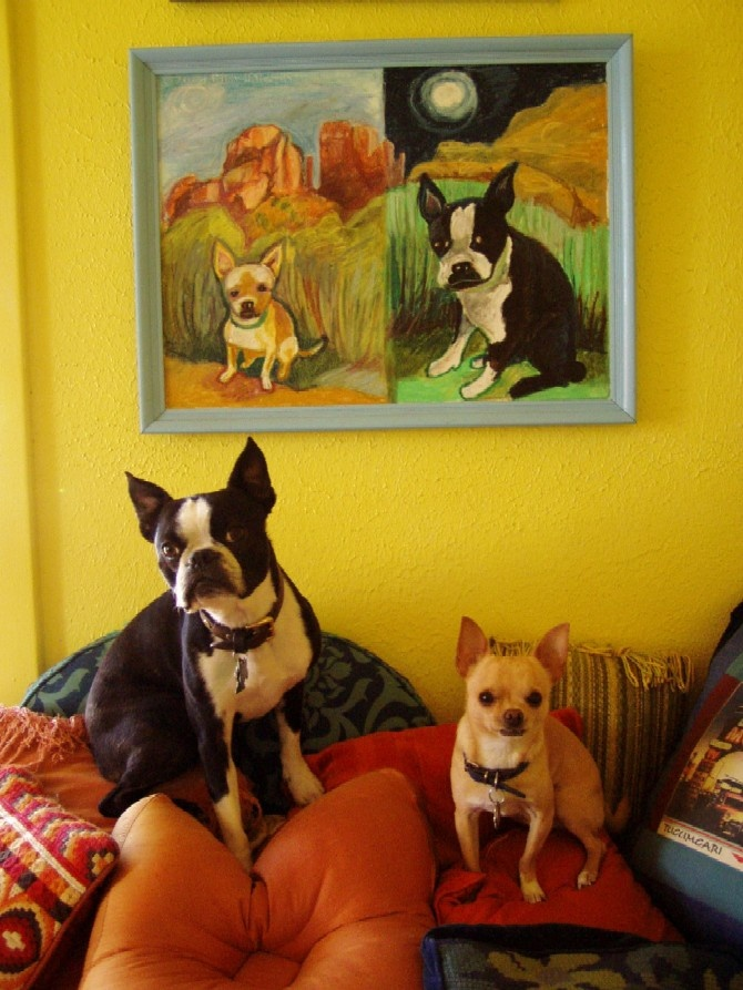 cute! Great artwork. Very lovely colourful corner and the dogs! Just like what I have but add two of each.