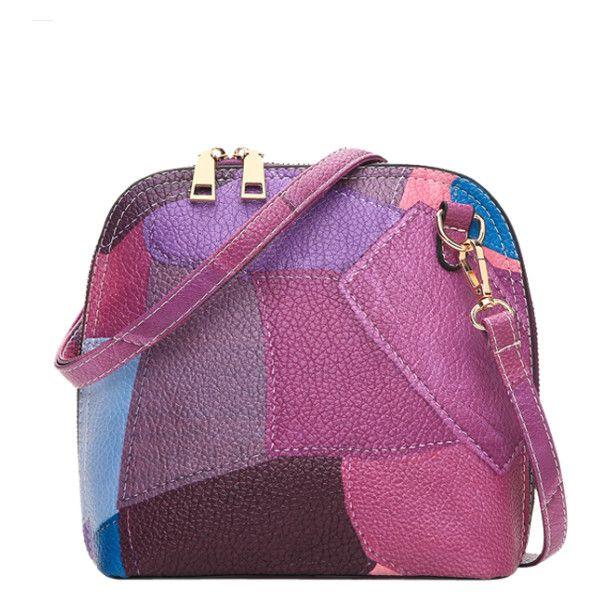 Zip Around Color Blocking Cross Body Bag Purple ($23) ❤ liked on Polyvore featuring bags, handbags, shoulder bags, crossbody shoulder bag, colorblock purse, purple shoulder bag, cross-body handbag and purple crossbody purse