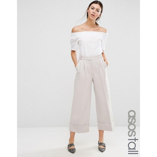 ASOS TALL High Waist Culottes with Deep Turn Up ($32) ❤ liked on Polyvore featuring pants, capris, grey, high waisted pants, asos, high-waisted pants, gray pants and high waisted wide leg trousers