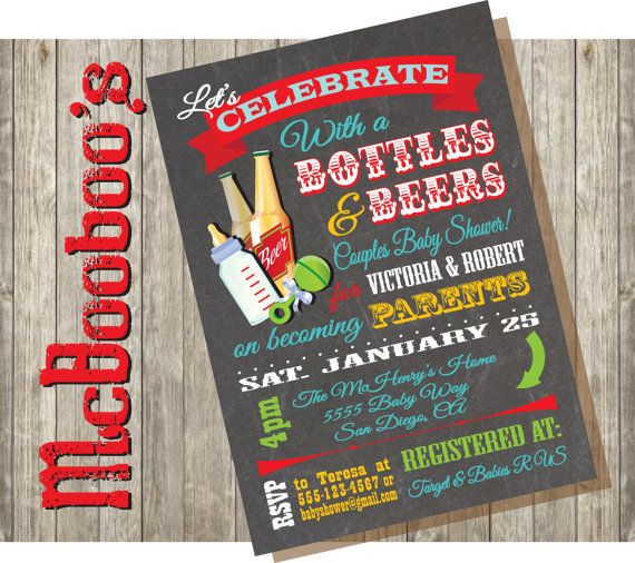 Bottles and Beer Couples baby shower invitations on a chalkboard background on Etsy, $16.00