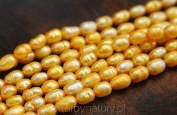 Perła Pomarańczowa - oliwka 6 mm / 5 mm [1 sznur - 60 pereł] - Skarby Natury - rozwiń swoją pasję