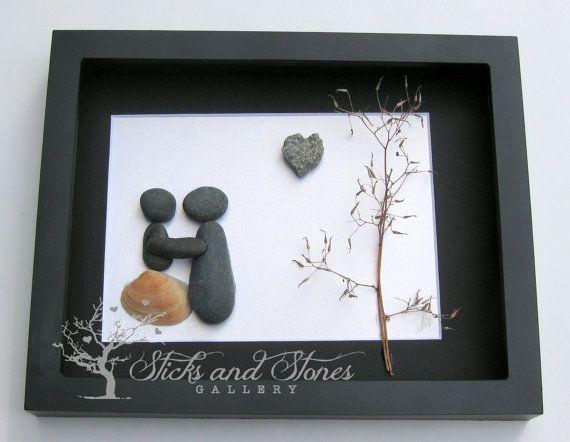Pebble Art Christmas Gift-Couple's Christmas by SticksnStone