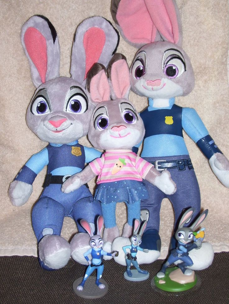 Will the Real Judy Hopps Please Hop Up?—You can never have too many Judy Hopps toys, right? Back row (left to right): Talking Judy (made by Tomy), young Judy (made for Disney Store), adult Judy (made for Disney Store). Front row: Bullyland figurine, Disney Store playset figurine, Disney Infinity 3.0 figurine. #JudyHopps #Zootopia #StuffedAnimals