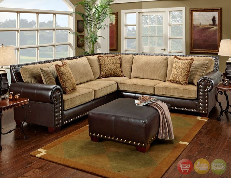 Awesome traditional brown and tan sectional sofa with for Brown leather couch with studs