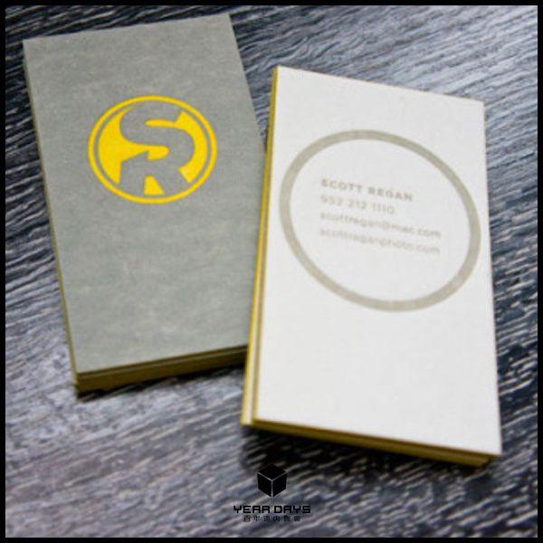 Индивидуальный заказ белая бумага карточки визитные карточки печать желтый тиснение фольгой / цвет края, высокой печати модный дизайн лучшая цена