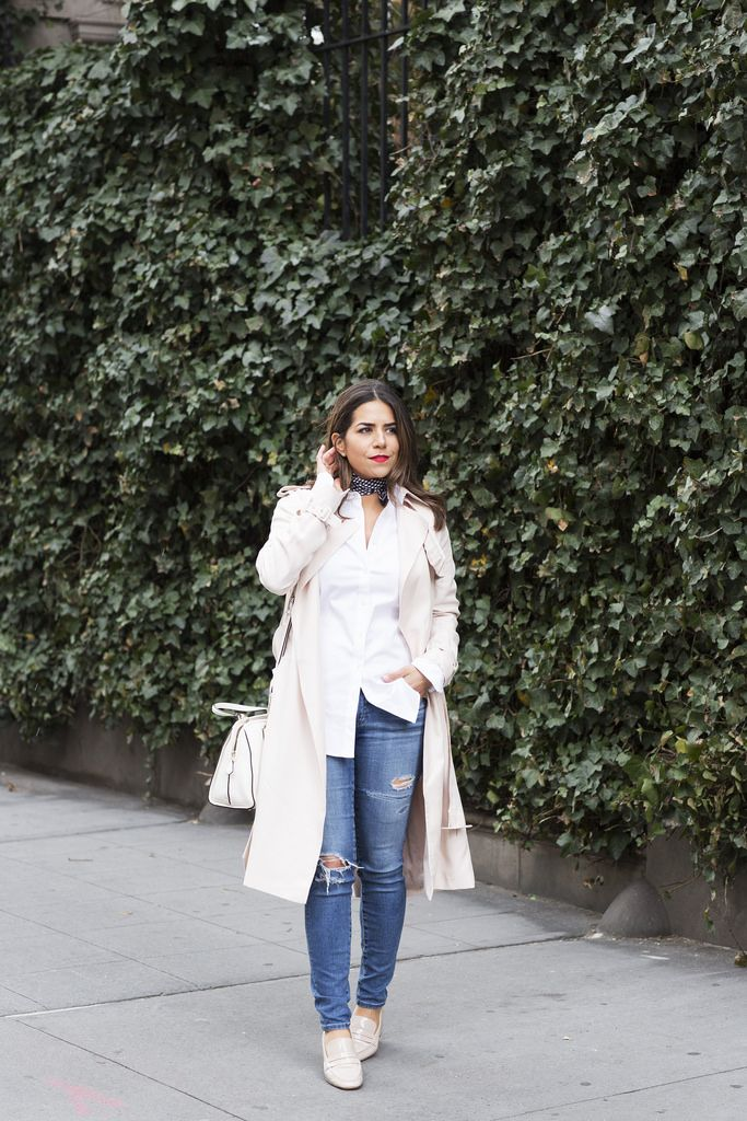 blush pink trench coat pebbled leather satchel coach white bag for work work wear office style ag denim distressed denim ripped jeans silk scarf for work prada cateye sunglasses what to wear on the weekends staple pieces in your closet casual look ann taylor the perfect shirt zara loafers spring looks spring corporate style corporate catwalk