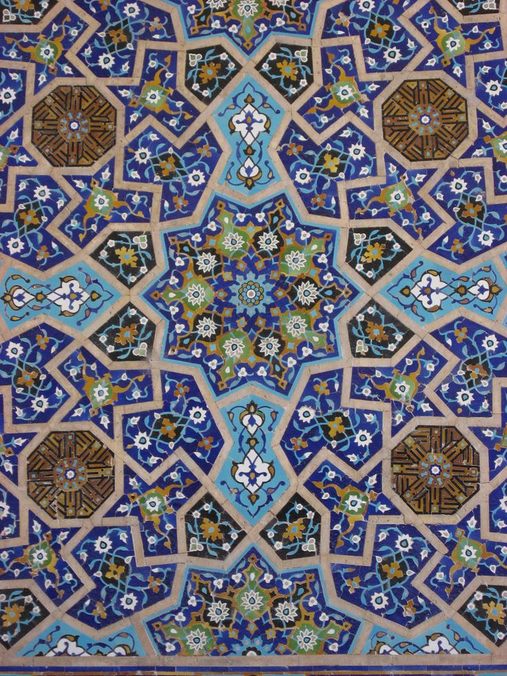 Tile detail, Jameh Mosque, Esfahan, Iran by Mike Gadd