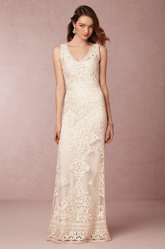 Delicate ivory tulle wedding dress with filigreed embroidery from BHLDN