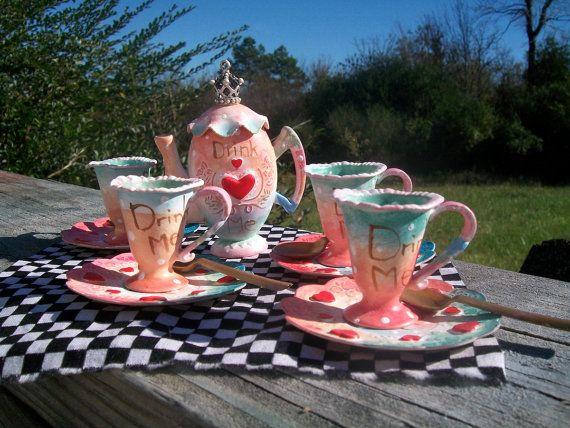 Alice in Wonderland Doll's Tea Set. Doll Prop. Alice by Rhissanna