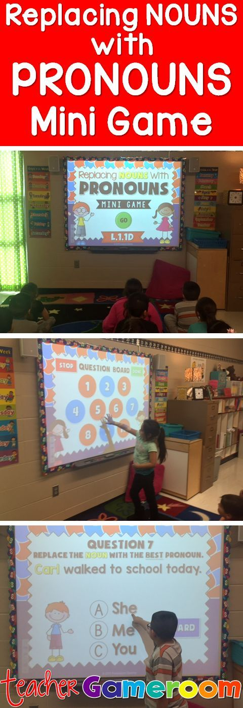 Practice using Pronouns with this fun smartboard game for your students. Great for grammar or word work centers. CCSS aligned.