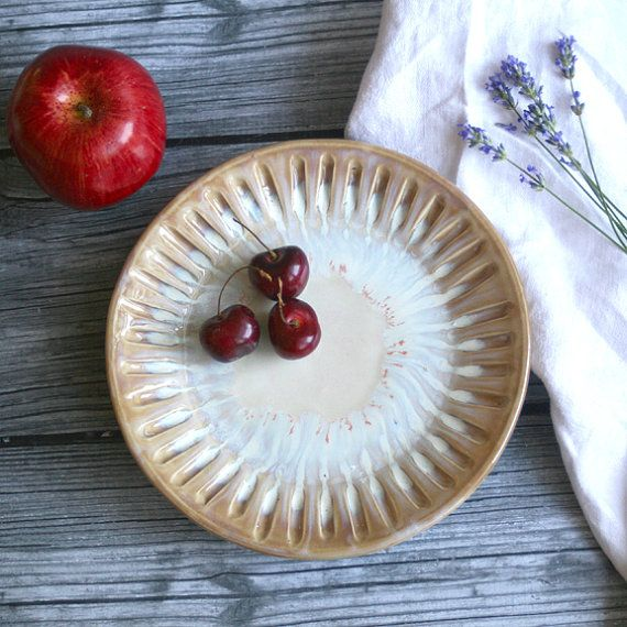 Rustic Ocher and White Side Plate with Carved by AndoverPottery