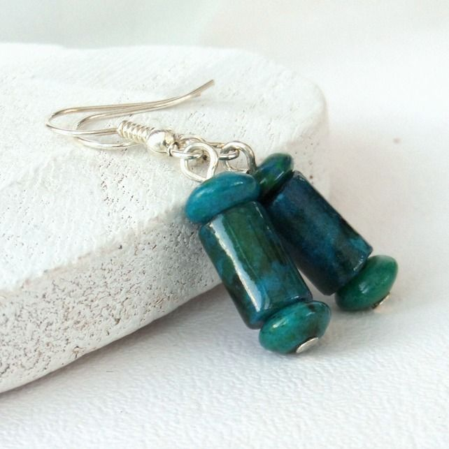 Chrysocolla blue-green earrings £10.00
